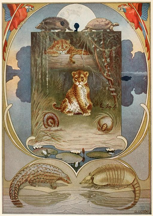 An illustration for the story The Beginning Of The Armadillos (poem) by the author Rudyard Kipling
