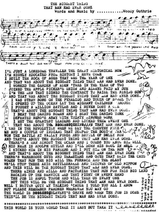 An illustration for the story The Biggest Thing That Man Has Ever Done by the author Woody Guthrie