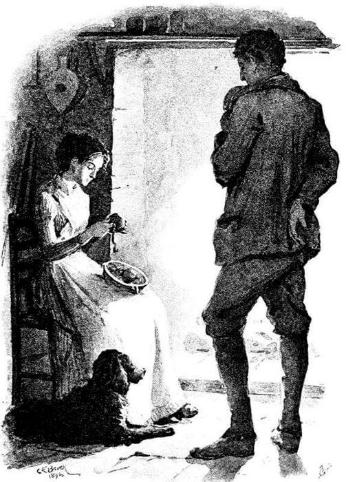 An illustration for the story The Courtin' by the author James Russell Lowell