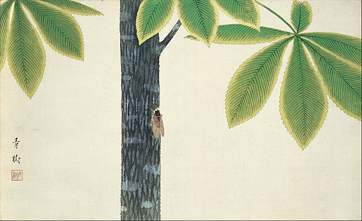 An illustration for the story The cry of the cicada by the author Matsuo Basho