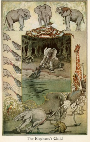 An illustration for the story The Elephant's Child (poem) by the author Rudyard Kipling