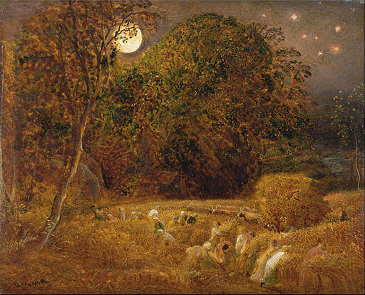 An illustration for the story The Harvest Moon by the author Henry Wadsworth Longfellow