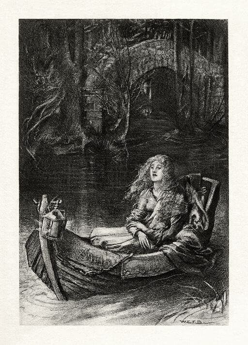 An illustration for the story The Lady of Shalott (1832) by the author Alfred Lord Tennyson