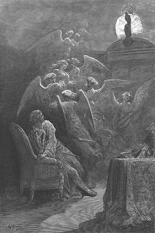 The Raven study guide: illustration by Gustave Dore, 1884