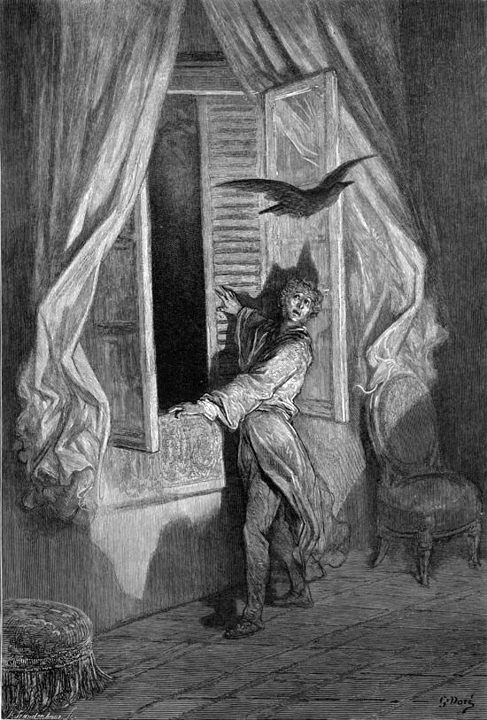 An illustration for the story The Raven by the author Edgar Allan Poe