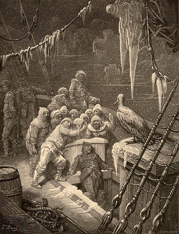 An illustration for the story The Rime of the Ancient Mariner by the author Samuel Taylor Coleridge