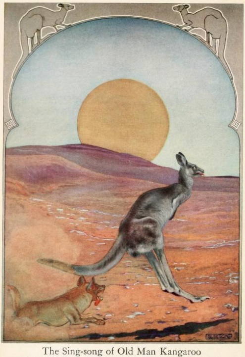 An illustration for the story The Sing-Song Of Old Man Kangaroo (poem) by the author Rudyard Kipling