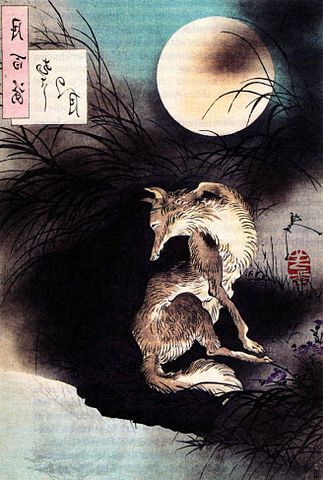 An illustration for the story Three With the Moon and His Shadow by the author Li Bai