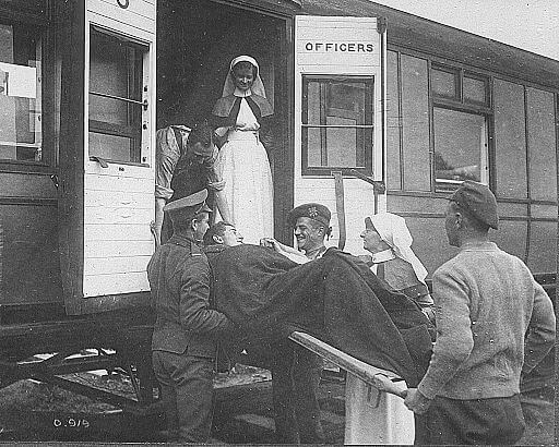 An illustration for the story The Troop-Train by the author Vera Brittain