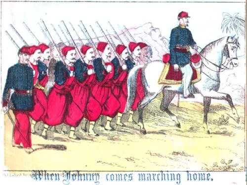 An illustration for the story When Johnny Comes Marching Home by the author Patrick Gilmore