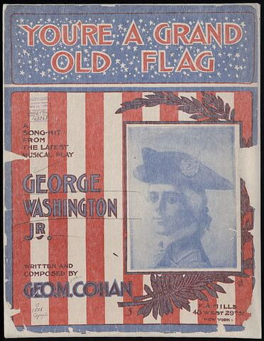 An illustration for the story You're A Grand Old Flag by the author George M. Cohan