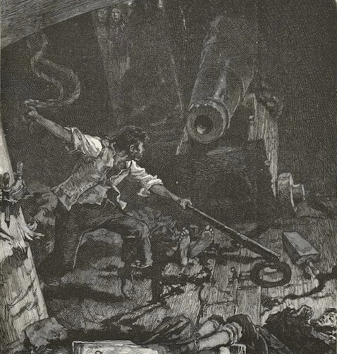 An illustration for the story A Fight With A Cannon by the author Victor Hugo