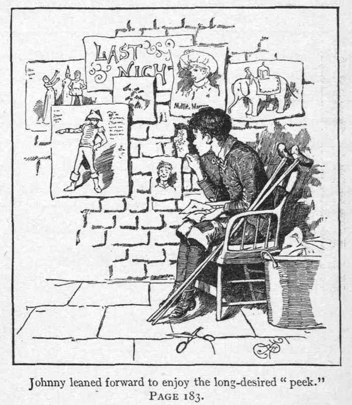 An illustration for the story A Hole in the Wall by the author Louisa May Alcott