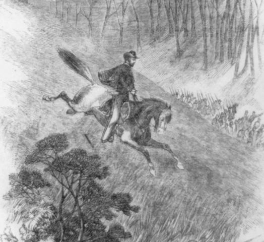 An illustration for the story A Horseman in the Sky by the author Ambrose Bierce