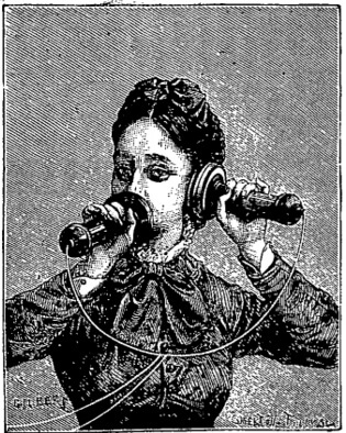 An illustration for the story A Telephonic Conversation by the author Mark Twain