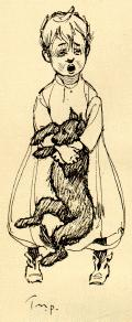 A Dark Brown Dog study guide: illustration of the Child clinging to the Dog