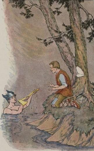 An illustration for the story Mercury And The Woodman by the author Aesop