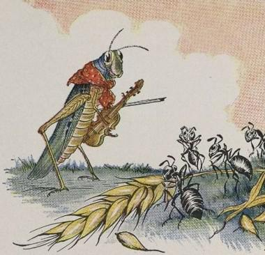 An illustration for the story The Ant And The Grasshopper by the author Aesop