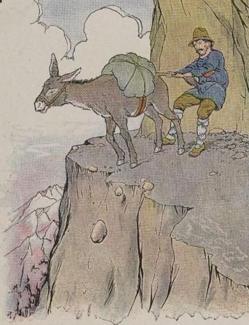 An illustration for the story The Ass And His Driver by the author Aesop