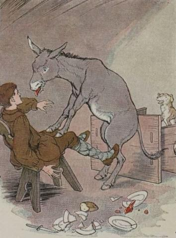 An illustration for the story The Ass And The Lap Dog by the author Aesop