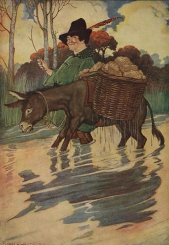An illustration for the story The Ass And The Load Of Salt by the author Aesop