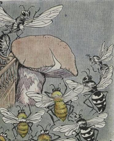 An illustration for the story The Bees And Wasps And The Hornet by the author Aesop