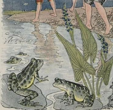 An illustration for the story The Boys And The Frogs by the author Aesop