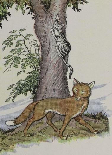 An illustration for the story The Cat And The Fox by the author Aesop