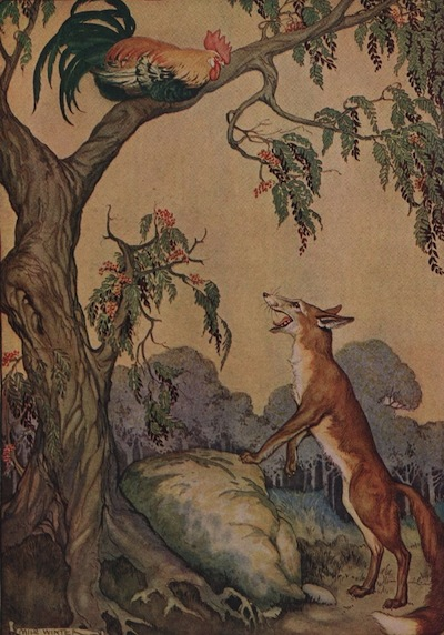 An illustration for the story The Cock And The Fox (2nd Fable) by the author Aesop