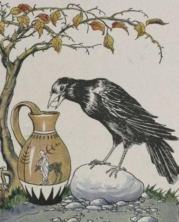 An illustration for the story The Crow And The Pitcher by the author Aesop