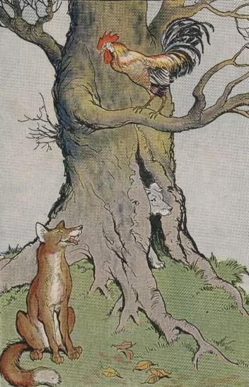 An illustration for the story The Dog The Cock And The Fox by the author Aesop