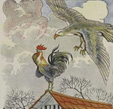 An illustration for the story The Fighting Cocks And The Eagle by the author Aesop
