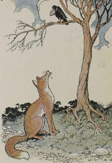 An illustration for the story The Fox And The Crow by the author Aesop