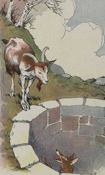 An illustration for the story The Fox And The Goat by the author Aesop