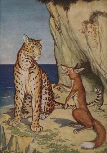 An illustration for the story The Fox And The Leopard by the author Aesop