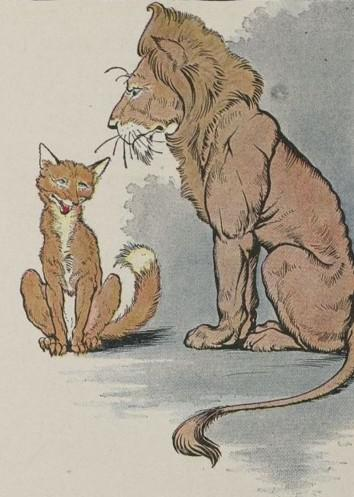 An illustration for the story The Fox And The Lion by the author Aesop
