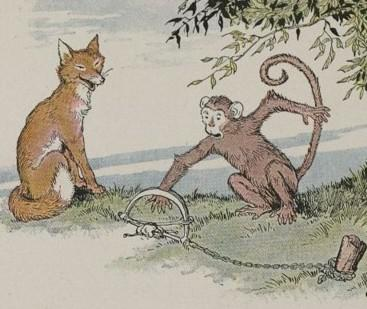 An illustration for the story The Fox And The Monkey by the author Aesop