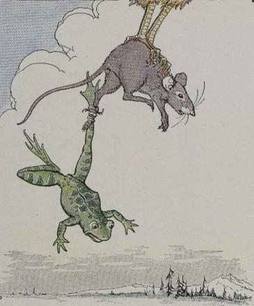 An illustration for the story The Frog And The Mouse by the author Aesop