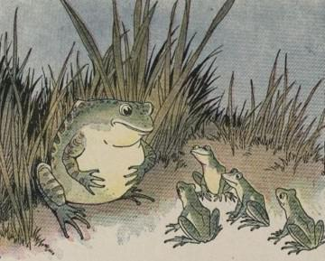 An illustration for the story The Frogs And The Ox by the author Aesop