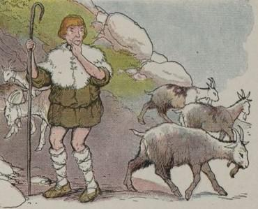 An illustration for the story The Goatherd And The Wild Goats by the author Aesop