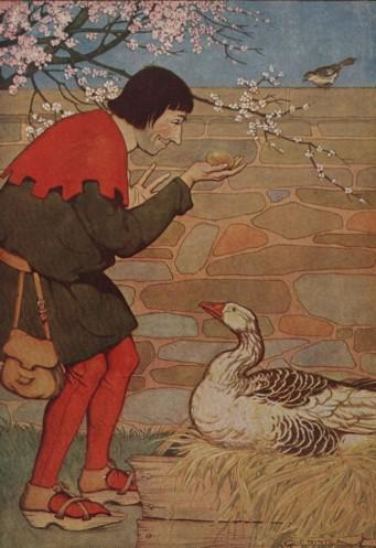 An illustration for the story The Goose And The Golden Egg by the author Aesop