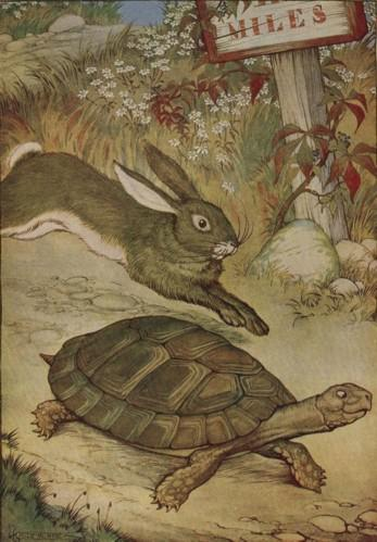 An illustration for the story The Tortoise And The Hare by the author Aesop