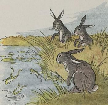 An illustration for the story The Hares And The Frogs by the author Aesop
