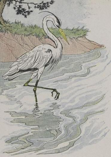 An illustration for the story The Heron by the author Aesop