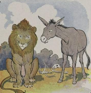An illustration for the story The Lion And The Ass (2nd Fable) by the author Aesop