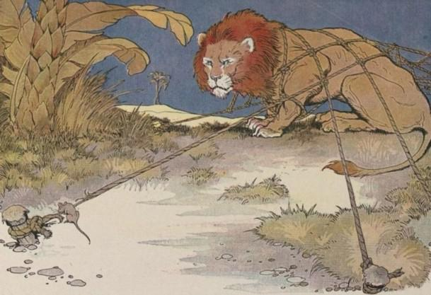 An illustration for the story The Lion And The Mouse by the author Aesop