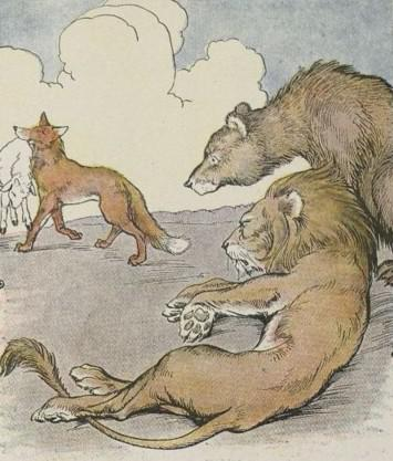 An illustration for the story The Lion The Bear And The Fox by the author Aesop