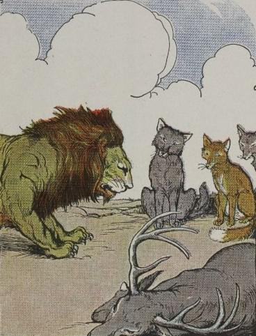 An illustration for the story The Lion's Share by the author Aesop