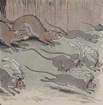 An illustration for the story The Mice And The Weasels by the author Aesop