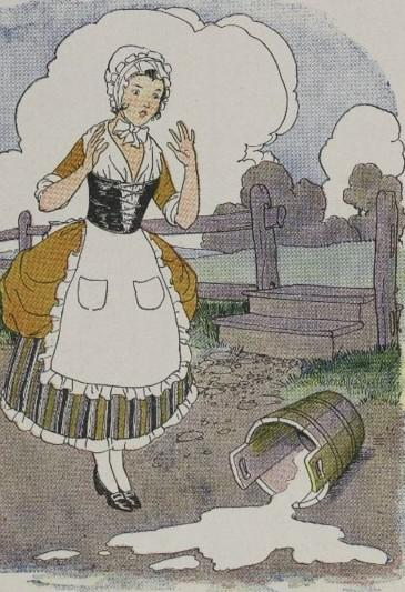 An illustration for the story The Milkmaid And Her Pail by the author Aesop